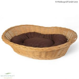 Hundekorb Weide hell, oval mit Kissen
